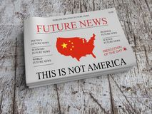 Future News US China Economy Newspaper: USA Being Chinese 3d illustration vector illustration