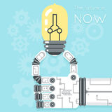 Future is now. Robot hand holding light bulb Stock Images