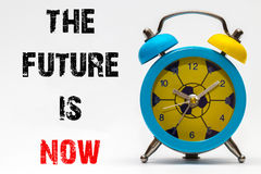 The future is now on a white background. Retro alarm clock Stock Images