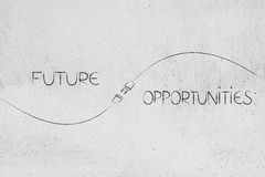 Future and opportunities captions with plug in between Stock Image