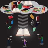 In future,Paper`s books were transform to ebook. Stock Photography