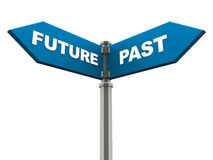 Future and past. Past and future on street sign post, concept of time and tense, planning for future and learning from the past Royalty Free Stock Photography