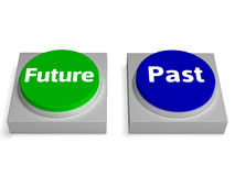 Future Past Buttons Shows Destiny Or History Stock Photos
