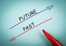 Future and past. Concept is on blue paper with a red marker aside Royalty Free Stock Image