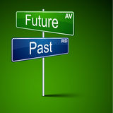 Future past direction road sign. vector illustration
