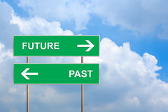Future and past on green road sign Royalty Free Stock Photo