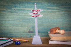 Future, past, present. Signpost on wooden table. Future, past and present. Signpost on wooden table Stock Image