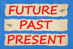 Future Past Present Time Progress Concept. Future, Past and Present written on old torn paper on blue background. Business concept. Top view stock image