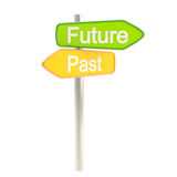 Future and past road sign signpost. Isolated on white Stock Photo