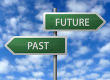 Future and past signs. Street signs with future and past directional arrows Royalty Free Stock Photos