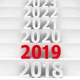 2019 future pedestal #3. 2019 future on podium represents the new year 2019, three-dimensional rendering, 3D illustration stock illustration