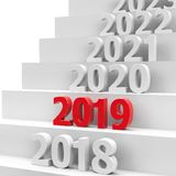 2019 future pedestal #2. 2019 future on podium represents the new year 2018, three-dimensional rendering, 3D illustration royalty free illustration