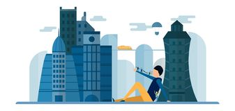 Future people in urban buildings with blue sky and cloud. Vector. Illustration with flat city in paper cut style. Trend of landmark for downtown of the world stock illustration