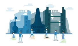 Future people in urban buildings with blue sky and cloud. Vector. Illustration with flat city in paper cut style. Trend of landmark for downtown of the world vector illustration