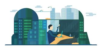 Future people in urban buildings with blue sky and cloud. Vector. Illustration with flat city in paper cut style. Trend of landmark for downtown of the world royalty free illustration