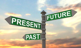 Future - present - past signpost. Abstract concept with sunset sky Stock Image