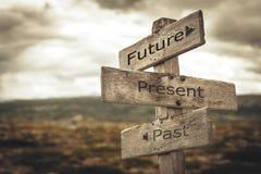 Future, present, past signpost. vector illustration