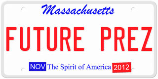 Future President License Plate. An imitation Massachusetts license plate with November 2012 stickers and Future Prez signaling the chance for Mitt Romney to be Royalty Free Stock Images
