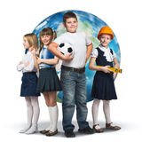 Future profession. Children of school age trying different professions. Elements of this image are furnished by NASA Royalty Free Stock Photos