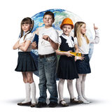 Future profession. Children of school age trying different professions. Elements of this image are furnished by NASA Royalty Free Stock Image