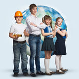 Future profession. Children of school age trying different professions. Elements of this image are furnished by NASA Stock Photography