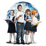 Future profession. Children of school age trying different professions. Elements of this image are furnished by NASA Stock Images
