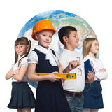 Future profession. Children of school age trying different professions. Elements of this image are furnished by NASA Stock Image