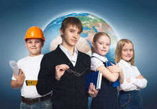 Future profession. Children of school age trying different professions. Elements of this image are furnished by NASA Stock Photos