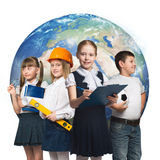 Future profession. Children of school age trying different professions. Elements of this image are furnished by NASA Royalty Free Stock Photography