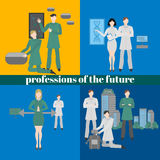 Future professions set. Futuristic occupation. Work in medicine, building, design and robotics. It technology. Royalty Free Stock Images