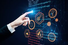 Future and programming concept. Hand pointing at abstract HTML background. Future and programming concept. 3D Rendering Stock Photos
