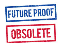Future proof and Obsolete stamps Stock Photo