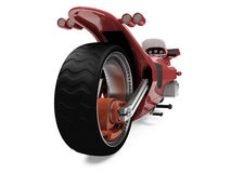 Future red bike isolated view. Isolated red bike back view over white background Stock Photo