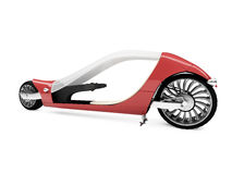 Future red bike isolated view. Isolated future red bike front view over white background Stock Image
