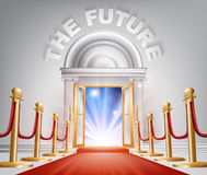 The Future Red Carpet Door. An illustration of a posh looking door with red carpet and The Future above it. Concept for positive changes Stock Image