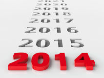 2014 future. Represents the new year 2014, three-dimensional rendering Stock Images