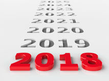 2018 future. Represents the new year 2018, three-dimensional rendering, 3D illustration Stock Photos