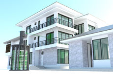 Future residential house with huge outer battery energy source i Stock Photo