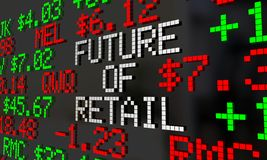 Future of Retail Stock Market Ticker Prices. Valuation 3d Illustration Stock Image