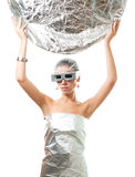 Future robot woman with silver disk Royalty Free Stock Image