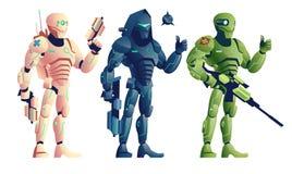 Fantasy cyborg armed warriors cartoon vector set vector illustration