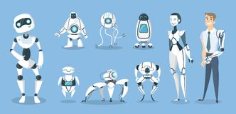 Future robots set. Androids and cyborgs, AI and prosthesis royalty free illustration