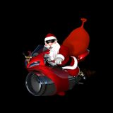Future Santa 1. Santa in the future looking cool with a bit of an attitude on his shiny new red and chrome jet bike Stock Images