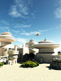 Future Science Fiction Town Buildings. Science fiction illustration of futuristic buildings in a town square on a bright sunny day, 3d digitally rendered Royalty Free Stock Photography