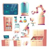 Future science lab equipment cartoon vector set
