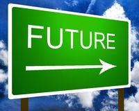 Future sign. A green future direction road street sign and the sky Royalty Free Stock Photography