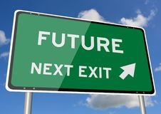 Future signpost roadsign next exit blue sky. Future signpost or roadsign next exit blue sky Royalty Free Stock Images