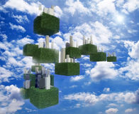 Future sky city in the sky. Stock Photo