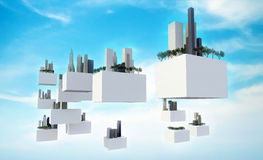 Future sky city in the sky. Buildings on flying box in the cloudy sky, Future sky city Stock Photography