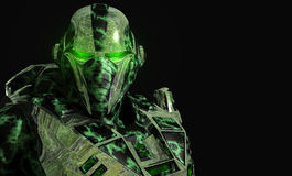 Future soldier. In advanced armor Royalty Free Stock Photography